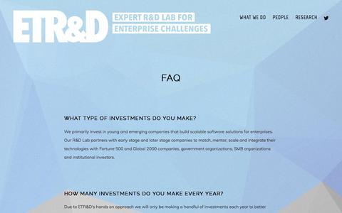 Screenshot of FAQ Page etrd.com - FAQ — ETR&D - captured July 15, 2018