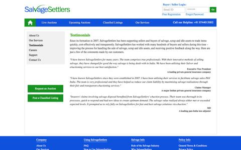 Screenshot of Testimonials Page salvagesettlers.com - salvage management guide | implementing the salvage management process - captured Oct. 10, 2014
