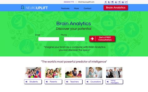 Screenshot of Home Page neurouplift.com - NeuroUplift-Brain Analytics Intelligence Testing - captured Jan. 7, 2016
