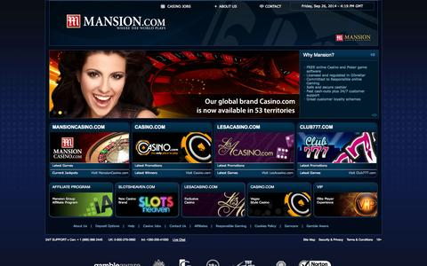 Screenshot of Home Page mansion.com - Mansion - Online Casino, Online Poker & Sports Betting - captured Sept. 26, 2014