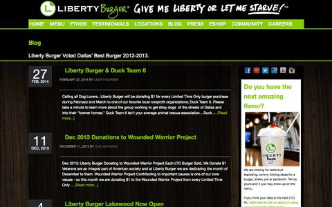 Screenshot of Blog givemelibertyburger.com - Blog - Liberty Burger - Dallas - captured Oct. 2, 2014