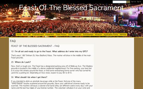 Screenshot of FAQ Page ning.com - FAQ - Feast Of The Blessed Sacrament - captured Oct. 27, 2018