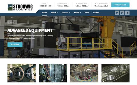 Screenshot of Home Page strohwig.com - Strohwig Industries – Custom Machining – Die Cast – Dies – Injection Molds – Forging Dies - captured Nov. 18, 2018