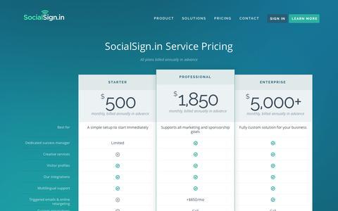 Screenshot of Pricing Page socialsign.in - Pricing • SocialSign.in - captured Nov. 18, 2015
