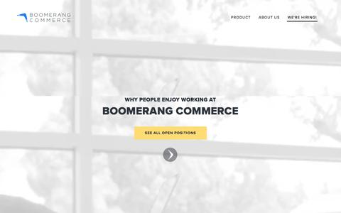 Screenshot of Jobs Page boomerangcommerce.com - Careers — Boomerang Commerce - captured Oct. 22, 2016