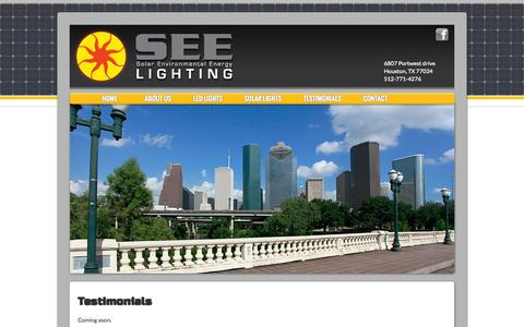 Screenshot of Testimonials Page see-lighting.com - Testimonials Solar Environmental Energy   Installing solar powered LED lighting for the future - captured Sept. 30, 2014