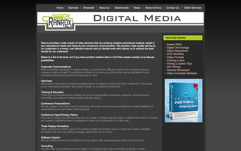 Screenshot of Services Page ranrox.com.au - Corporate Video Production Services Company - captured Oct. 7, 2014