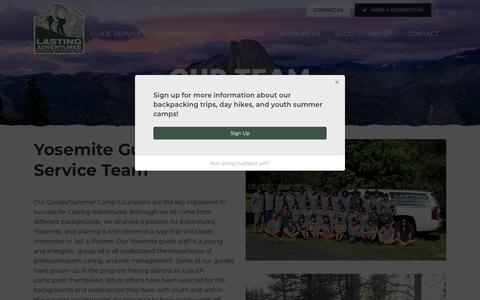 Screenshot of Team Page lastingadventures.com - Our Team - Lasting Adventures Yosemite Guide Staff - captured July 16, 2018