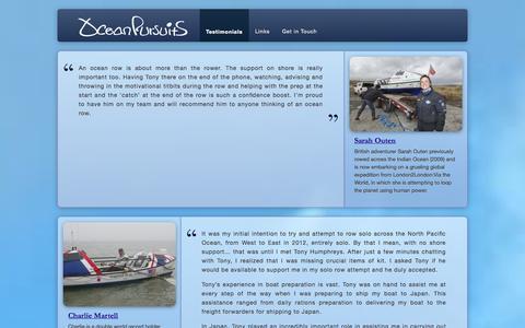 Screenshot of Testimonials Page oceanpursuits.co.uk - Testimonials   Ocean Pursuits - captured Oct. 27, 2014
