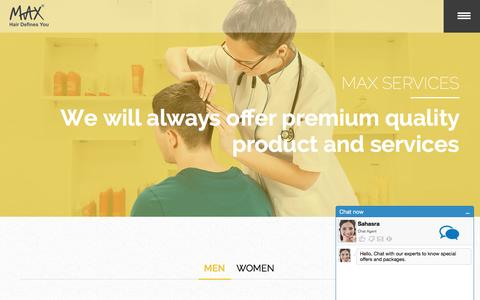 Screenshot of Services Page mymaxhair.com - Hair transplant services at Hyderabad, Hair loss solutions, Tips to avoid hair loss -Max Hair - captured Feb. 3, 2016