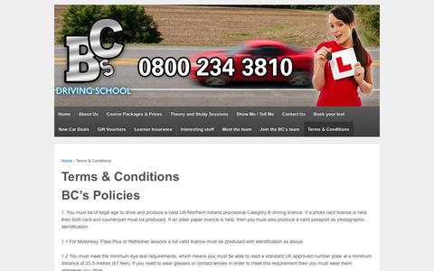 Screenshot of Terms Page bcsdrivingschool.co.uk - Terms & Conditions - BC's Driving School, Driving Lessons - captured Dec. 28, 2015