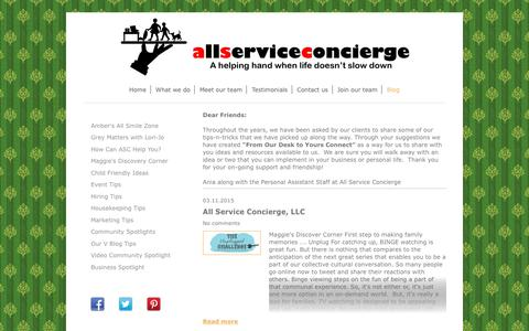 Screenshot of Blog allserviceus.com - Need a Hand?  Small Business Tasks...Light Housekeeping...In-home Child Care...and more! - Blog - captured Oct. 8, 2017
