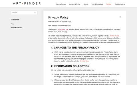 Screenshot of Privacy Page artfinder.com - Privacy Policy - Artfinder Help - captured Nov. 8, 2016