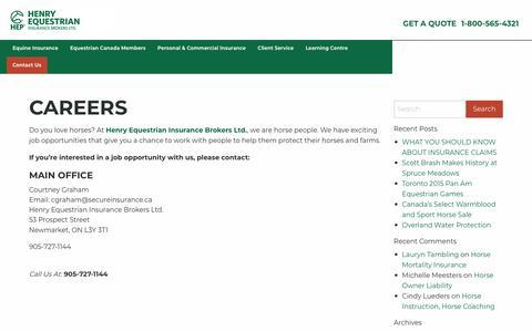Screenshot of Jobs Page hep.ca - Careers | Henry Equestrian - captured Sept. 28, 2018