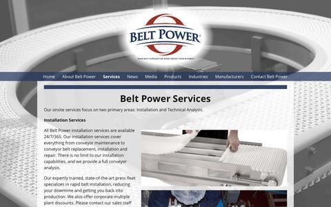 Screenshot of Services Page beltpower.com - Conveyor Belt Replacement   Conveyor Belt Repair   Belt Power - captured Oct. 5, 2018