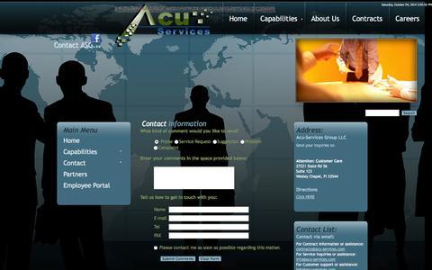 Screenshot of Contact Page Maps & Directions Page acu-services.com - Contact Us - captured Oct. 4, 2014