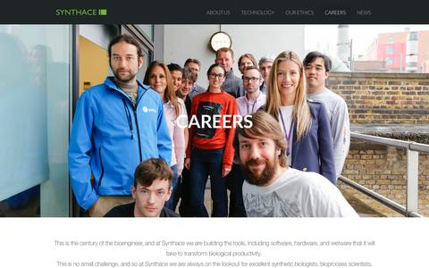 Screenshot of Jobs Page synthace.com - Synthetic Biology Careers - Synthace Limited - captured Dec. 2, 2016