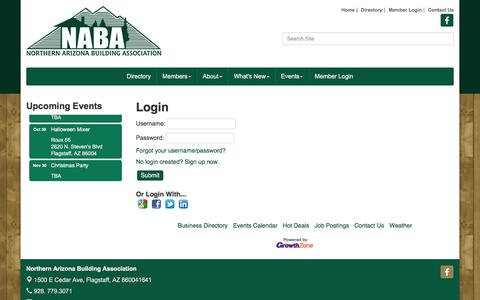 Screenshot of Login Page nazba.org - Login - Northern Arizona Building Association, AZ - captured Oct. 22, 2017