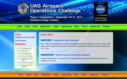 Screenshot of Press Page uasaoc.org - News about UAS Airspace Operations Challenge - captured Oct. 4, 2014