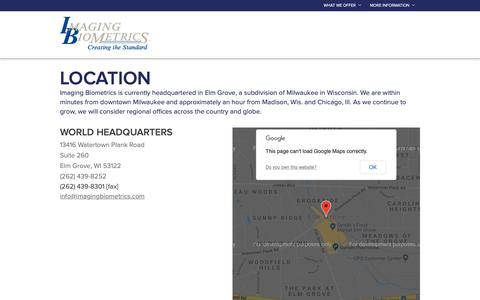 Screenshot of Contact Page Locations Page imagingbiometrics.com - Locations :: Imaging Biometrics - captured Oct. 11, 2018