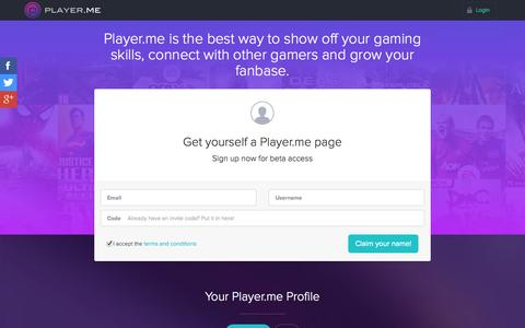 Screenshot of Home Page player.me - Gaming profiles made beautiful | Player.me - captured Jan. 23, 2015