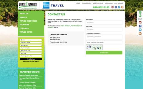 Screenshot of Contact Page indycruiseplanners.com - Contact Us - captured Jan. 8, 2016