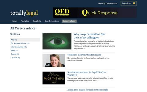 Screenshot of Jobs Page totallylegal.com - Articles and careers information on TotallyLegal - captured Sept. 7, 2016