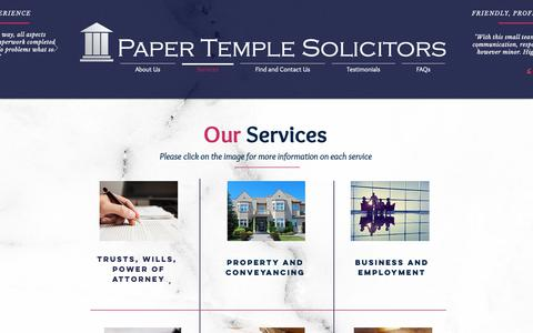 Screenshot of Services Page papertemple.com - Paper Temple Solicitors | Our Sevices - captured Dec. 14, 2018