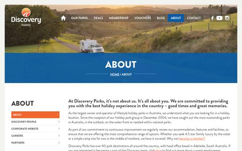 Screenshot of About Page discoveryholidayparks.com.au - Cabin & Caravan Accommodation  About Us   Discovery Parks - captured Aug. 2, 2016