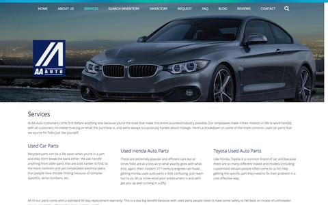 Screenshot of Services Page aaforeign.com - Trust the Top Salvage Yard for Quality Parts | AA Foreign Auto Parts - captured Nov. 19, 2016