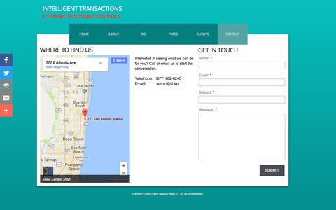 Screenshot of Contact Page intelligenttransactions.com - Contact - captured June 7, 2017