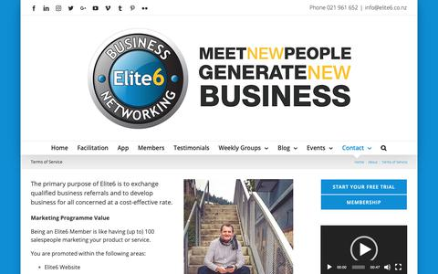 Screenshot of Terms Page elite6.co.nz - Elite6 Terms of Service - Meet New People Generate New Business: Business Networking - captured Sept. 27, 2018