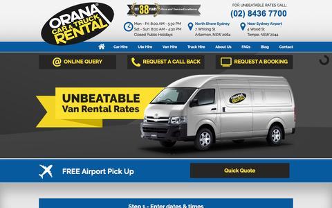 Screenshot of Home Page oranacarandtruck.com.au - Car Hire, Truck Hire, Van Hire | Sydney - captured Dec. 6, 2016