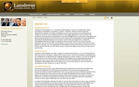 Screenshot of Terms Page lansdowne.com - Lansdowne Technologies :: Contact Lansdowne Technologies - captured Oct. 1, 2014