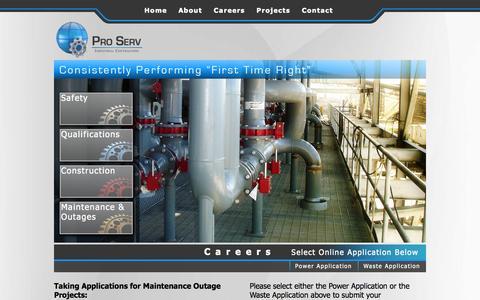 Screenshot of Jobs Page psic.us.com - Careers | Pro Serv Industrial Contractors, LLC - captured Oct. 3, 2014
