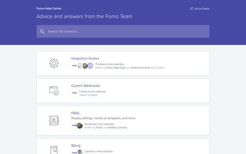 Screenshot of Support Page fomo.com - Fomo Help Center - captured July 9, 2018