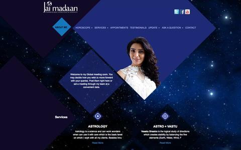Screenshot of Home Page jaimadaan.com - Famous Astrologer | Relationship Expert| Vastu Expert | Jai Madaan< - captured Oct. 1, 2015