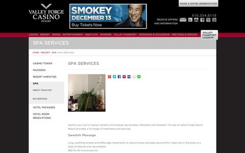 Screenshot of Services Page vfcasino.com - Spa Services | Valley Forge Casino Resort - captured Oct. 27, 2014