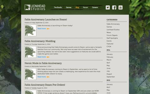Screenshot of Blog lionhead.com - Blog - Latest News from Lionhead - captured Sept. 19, 2014