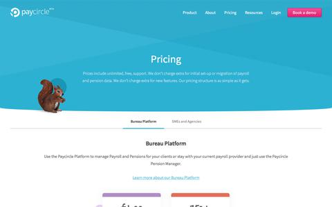 Screenshot of Pricing Page paycircle.co.uk - Paycircle pricing - captured July 16, 2018