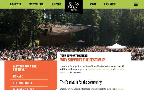 Screenshot of Support Page sterngrove.org - Stern Grove Festival - captured Oct. 18, 2018