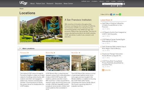 Screenshot of Locations Page ucsf.edu - Locations  | ucsf.edu - captured July 20, 2014