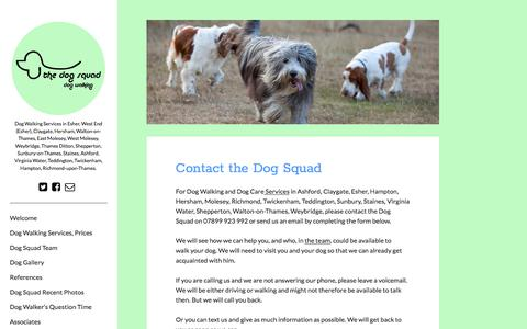 Screenshot of Contact Page thedogsquad.co.uk - The Dog Squad.Complete dog walking and dog care services. - captured Sept. 20, 2018