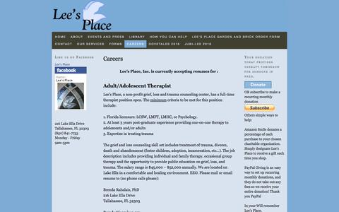 Screenshot of Jobs Page leesplace.org - Careers — Lee's Place - captured Nov. 6, 2016