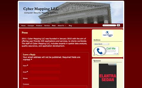 Screenshot of Press Page cybermapping.net - Press | Cyber Mapping LLC - captured Oct. 3, 2014