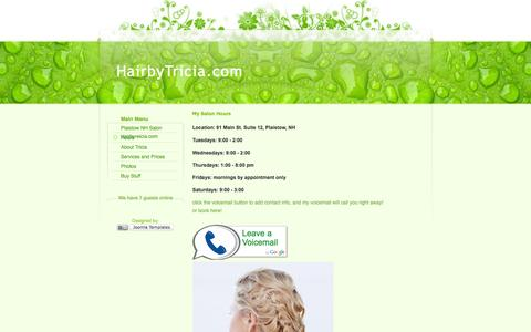 Screenshot of Hours Page hairbytricia.com - My Salon Hours - captured Oct. 1, 2014