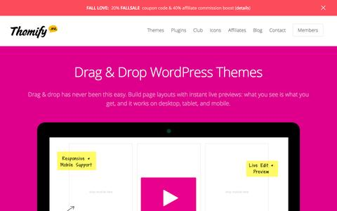 Screenshot of Home Page themify.me - Themify - Drag & Drop WordPress Themes - captured Sept. 18, 2014