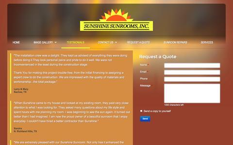 Screenshot of Testimonials Page sunshinesunrooms.com - Customer Testimonials for Sunshine Sunrooms, Decks, Screen Rooms - captured Oct. 7, 2014