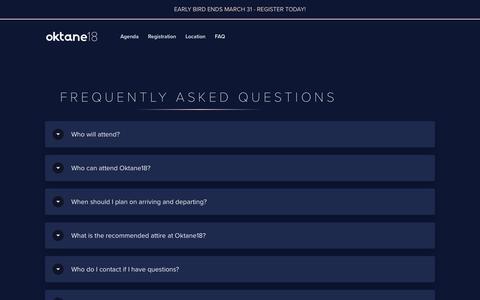 Screenshot of FAQ Page okta.com - Frequently Asked Questions (FAQ) | Oktane18 - captured March 4, 2018