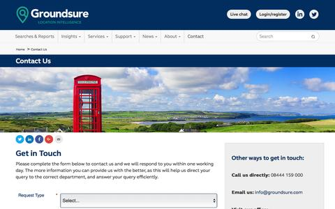 Screenshot of Contact Page groundsure.com - Contact Us - Groundsure - captured July 20, 2016